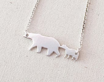 Mama and Baby Bears- Sterling Silver Mama Bear Necklace