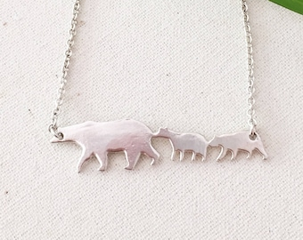 Mama and 2 Baby Bears- Sterling Silver Mama Bear Necklace