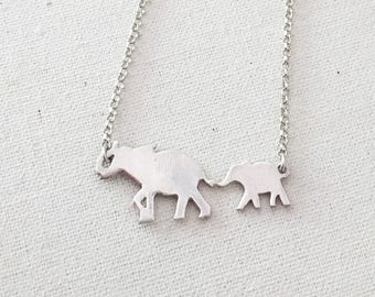 Mama Elephant Necklace- Sterling Silver Elephant Necklace with Babies
