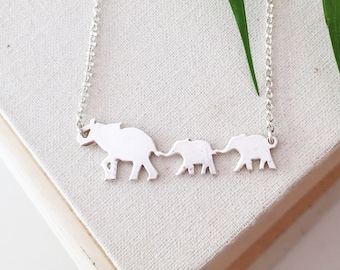 Mama Elephant and 2 Babies Necklace- Sterling Silver Elephant Necklace with Babies