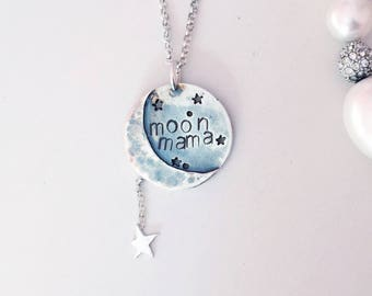 Moon Mama and Stars Necklace- Sterling Silver Crescent Moon Necklace