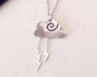 Storm Mama and Lightning Necklace- Sterling Silver Cloud Necklace