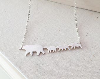 Mama and 3 Baby Bears- Sterling Silver Mama Bear Necklace