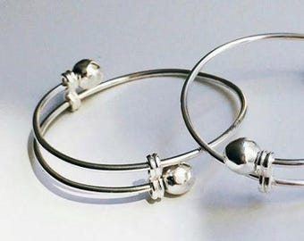 Baby Bracelets- Sterling Silver Adjustable Baby Bangles- Silver Toddler Jewelry