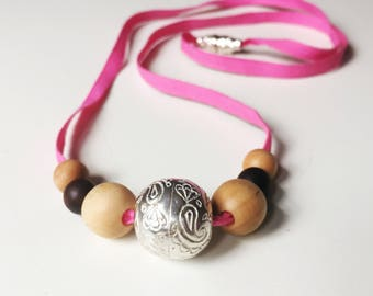 Gaia Teething Necklace- Wood & Silver Necklace for Mom