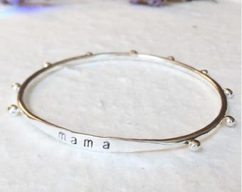 Studded Silver Teething Bangle - Personalized Mom Bangle in Sterling Silver- Baby Teether