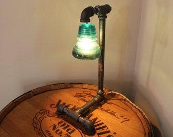 Black Steel Pipe Lamp,Blue Glass Insulator,creative lighting,industrial pipe lamp,steampunk lamp,vintage desk lamp,industrial lamp