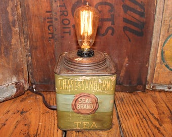 Tea Tin Can Light,Chase & Sanborn,lamp,vintage,repurposed,recycled,rustic kitchen home decor,farmhouse,upcycled,creative,gift,office,home