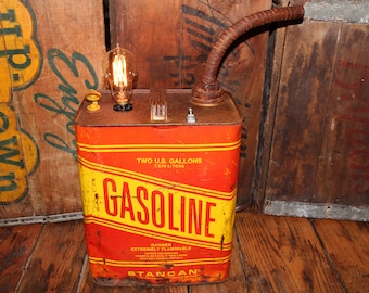 Gas Can Tin Lamp,vintage Light,rustic Home Decor ,repurposed,upcycled,