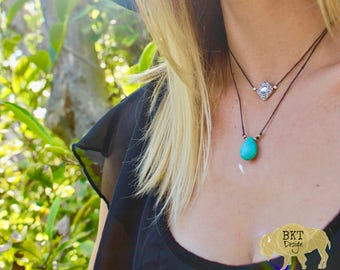 Multi-Strand hemp and Turquoise necklace