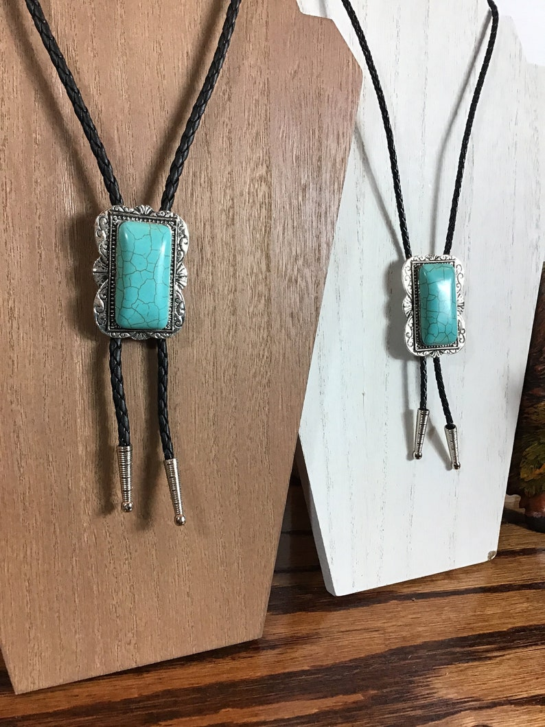 230dc0e9c59f Turquoise Howlite & silver bezel/ Bolo Tie/ Silver Tips/ | Etsy
