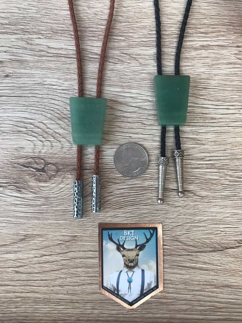 Amazonite Agate Gemstone Bolo Tie Necklace Southwest Wedding Gift Men Women Kids Customize Cord and Tips Natural