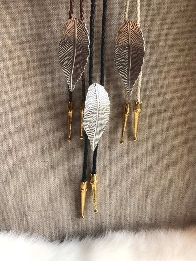 34a2aa4fa281 Silver Feather Bolo Tie/ Choose your cord/ Choose your tips/ | Etsy