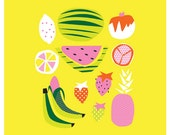 Retro Fruit Art Print. Digital illustration. 4 colours to choose from. Tropical.