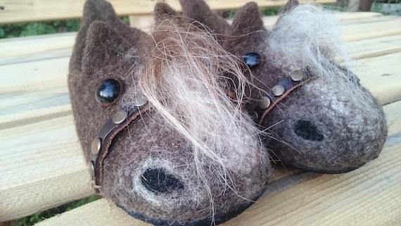 7d6a69be2a510 Felt child slippers Felted baby clogs Horses Woolen children size clogs  Horses felt slippers Horses clogs Gift for baby