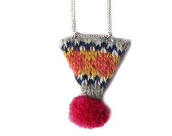 Fair Isle Knitted Necklace, Knitted Necklace, Pom Pom Necklace, Shetland Yarn, Triangle Necklace, Gifts For Knitters, Knitters Necklace