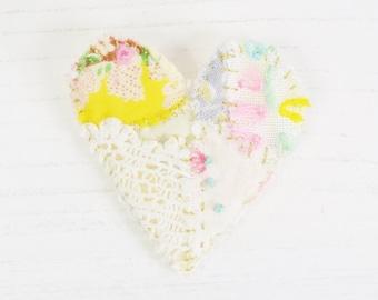 Heart Brooch, Embroidered Heart Brooch, Patchwork Brooch, Fabric Heart Brooch, Embroidery Brooch, Love Heart Brooch, Heart Pin, Brooch Pin