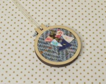 Blue Harris Tweed Mini Embroidery Hoop Necklace, Harris Tweed, Miniature Embroidery Hoop, Embroidery Hoop Necklace, Necklace