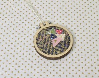 Tan and Brown Harris Tweed Mini Embroidery Hoop Necklace, Harris Tweed, Miniature Embroidery Hoop, Embroidery Hoop Necklace, Necklace