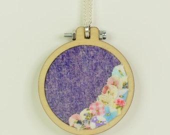 Lilac Harris Tweed Mini Embroidery Hoop Necklace, Harris Tweed, Miniature Embroidery Hoop, Embroidery Hoop Necklace, Upcycled Fabrics