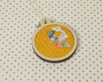 Mustard Harris Tweed Mini Embroidery Hoop Necklace, Harris Tweed, Miniature Embroidery Hoop, Embroidery Hoop Necklace, Necklace