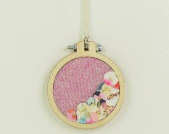 Pale Pink Harris Tweed Mini Embroidery Hoop Necklace, Harris Tweed, Miniature Embroidery Hoop, Embroidery Hoop Necklace, Upcycled Fabrics