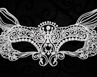 White lace mask, lace masquerade mask fit for ball parties, prom nights, fairy costumes