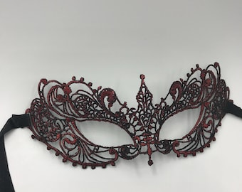 Masquerade mask, lace mask, Red masquerade lace mask fit for masked Ball, New years