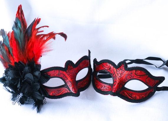 His and Hers Masquerade Masks Venetian Mask Pair Party Masks Red Venetian Masks Prom Masks Red and Black Couples Masquerade Masks