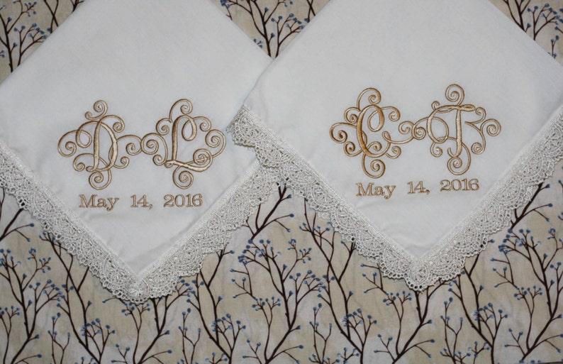 bride embroidered wedding handkerchief Set of 2 Interlock font bride wedding gift and momento bride and groom wedding initials