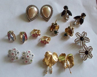 Lot of Vintage Earrings ~ Eight Pair ~ One Signed Sarah Coventry