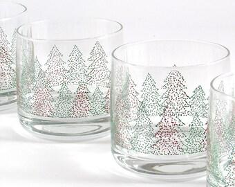 Vacances de cru gobelets, verres rouge vert sapin de Noël par Wheaton verre  fin 120d932ec21