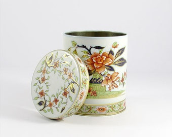 Vintage White Metal Floral Tin by Daher, Vintage Canister