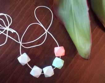 Beautiful Teething Necklace for Mum and Bub watermelon pink aqua and grey silicone beads