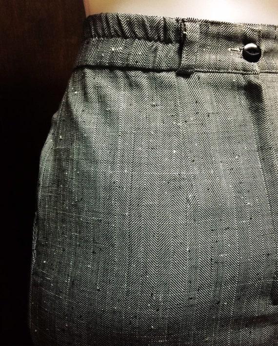 Ladies womens dress skirt grey retro original vintage 1980s Straight mid length