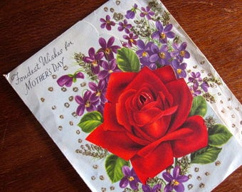 Original Vintage Retro 1960s Restored Greeting Card blank 'Mother' Cute 60s glitter roses violets graphic