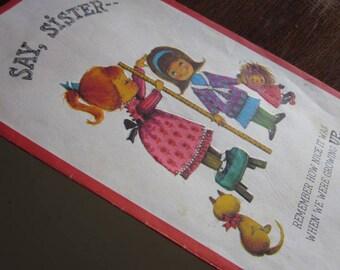 Original Vintage Retro 1960s Restored Greeting Card 'Sister'