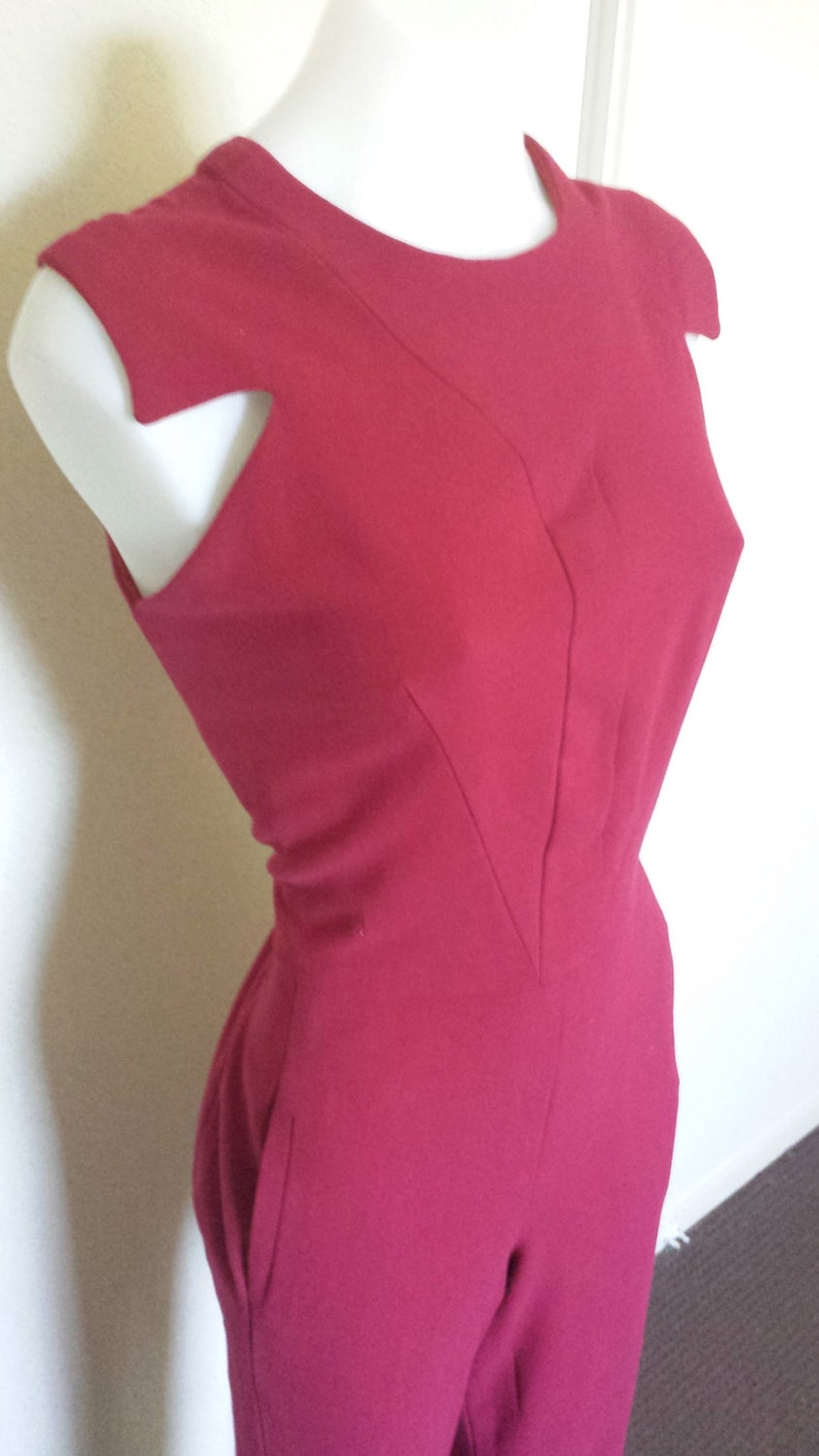 Ladies Designer Elie Saab inspired Cherry Red Pure Wool Jumpsuit Straight Pants Fitted Sleeveless