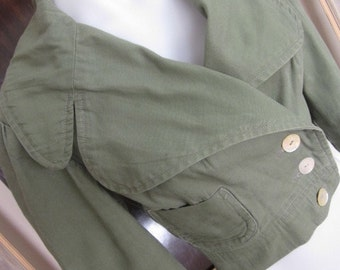 Ladies Retro 1970s Vogue Khaki Bomber Flying Short Cropped Fitted Double breasted Jacket