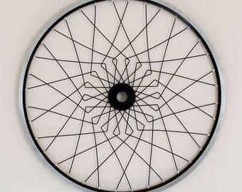 Bicycle wall sculpture art | Vega Wall Mandala | Silver & Black | gift for cyclist | FAST + FREE SHIPPING!