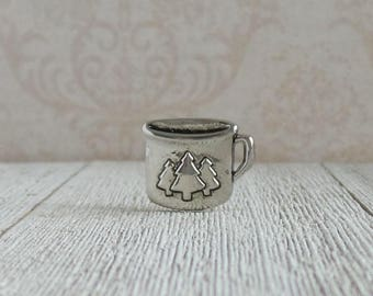 Tin Cup - Coffee Cup - Campfire - Camping Coffee Cup - Adventure - Lapel Pin