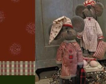 "Doll KIT Set/2 : Courtney & Cornelius - 19"" Mice - Christmas"