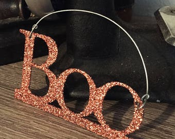 "Orange Sparkling ""Boo"" little hanging sign for Sparkles N Spirit Dolls"