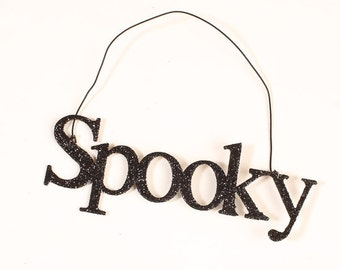 "Black Sparkling ""Spooky"" hanging sign for Sparkles N Spirit Dolls"
