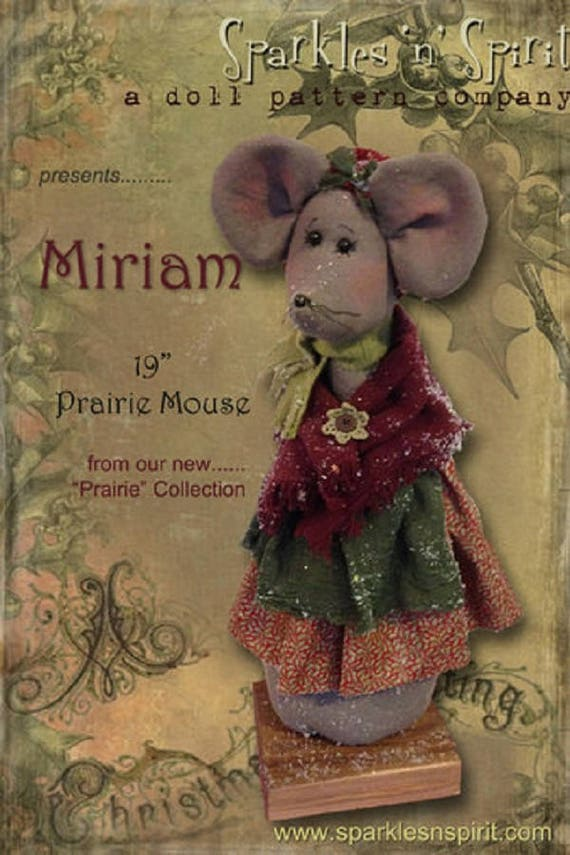 "Doll Kit: ""Miriam"" - 19"" Christmas Mouse -  for doll patterns by Sparkles n Spirit"