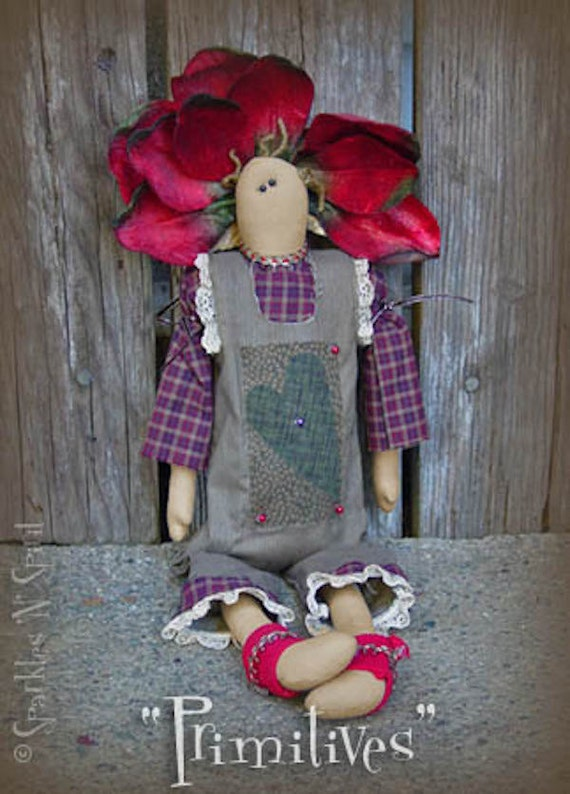 "Pattern: Posie - 18"" Flower Prim Rag Doll"