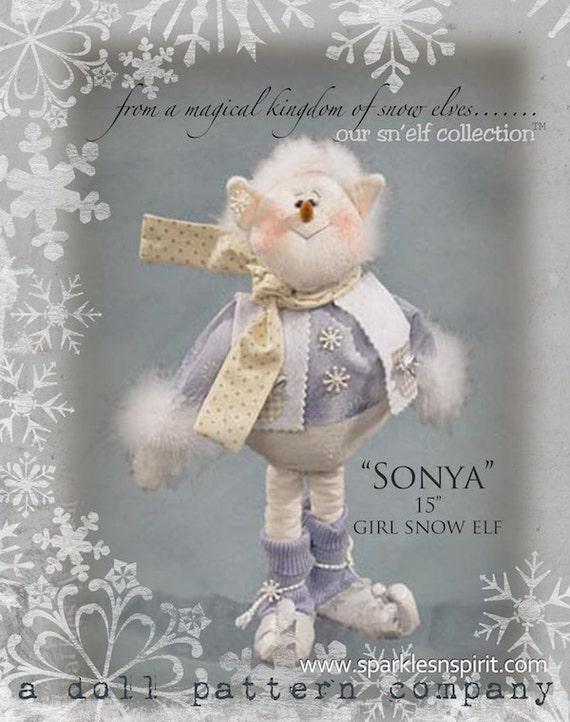 "Pattern: Sonya Snelf - 15"" Snowgirl Elf"