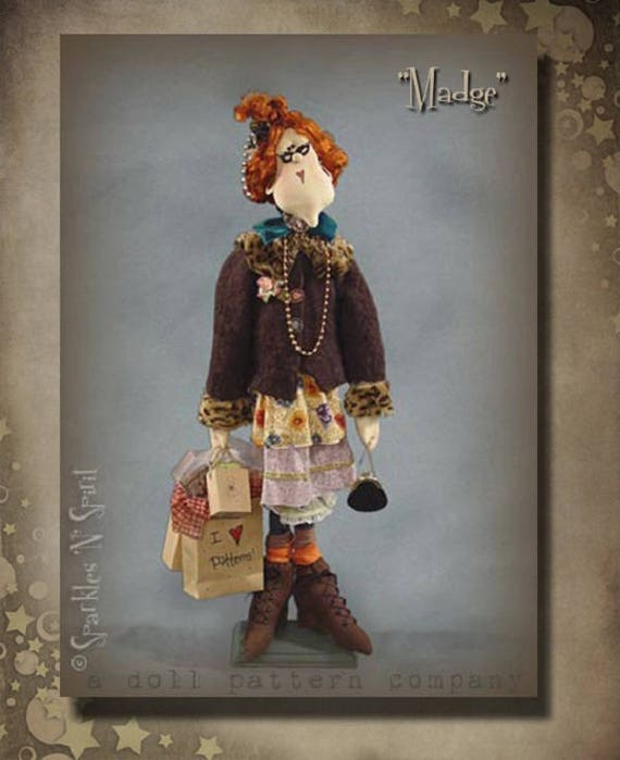 """Doll Kit: Madge - 30"""" Pattern Collector Bag Lady Doll"""
