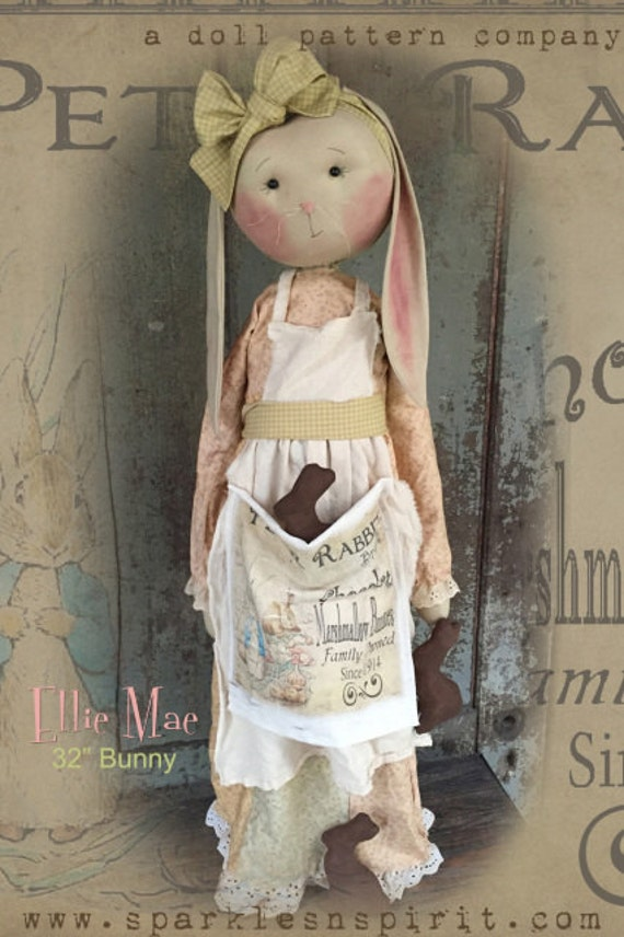"NEW! Pattern: Ellie Mae - 32"" Standing Bunny"