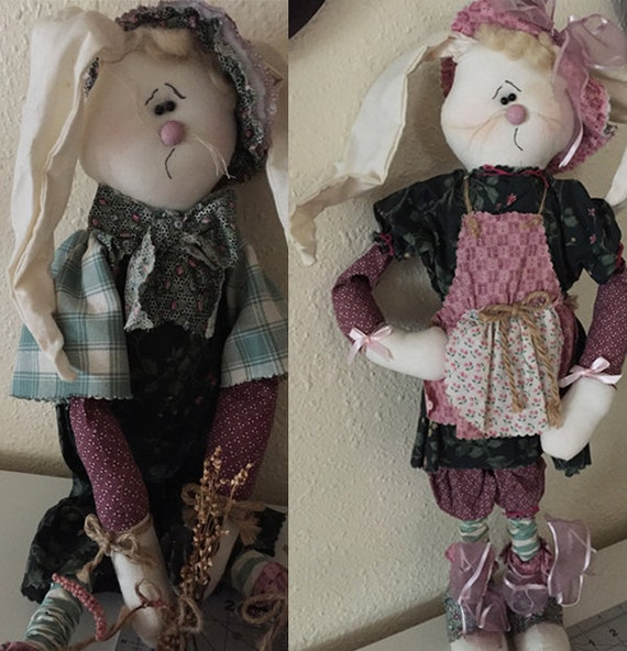 Finished Dolls: OOAK Handmade - Pair of Bunny Dolls - Sparkles N Spirit